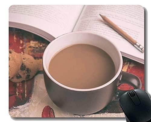 N\A Alfombrilla de ratón Personalizada, Libro de Galletas de Taza de café y lápiz sobre Mesa Alfombrilla de ratón con Base de Goma Antideslizante