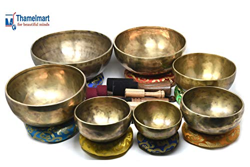 Chakra Healing Tibetan Singing Bowl - Set of 7 - Hand Hammered Tibetan Meditation Singing Bowl Nepal