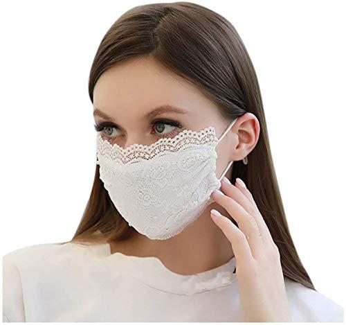 eBoutik Elegante Gesichtsmaske aus Spitze mit Perlen, modische Mundbedeckung, wiederverwendbar, atmungsaktiv, waschbar