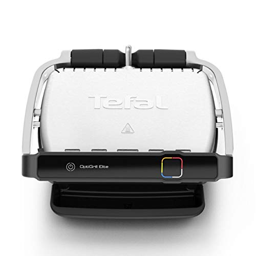 Tefal OptiGrill Elite GC750D Grill Elettrico Interno ed Esterno Sensore Grill Automatico, Sigillatura Rapida, 12 Programmi Automatici, Lavabile in Lavastoviglie, Antiaderente, Funzione Sandwich