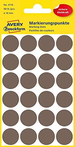 AVERY Zweckform 3116 Selbstklebende Markierungspunkte, Taupe (Ø 18 mm; 96 Klebepunkte auf 4 Bogen; Runde Aufkleber für Kalender, Planer und zum Basteln) Papier, matt