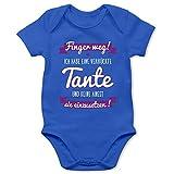 Shirtracer Sprüche Baby - Ich Habe eine verrückte Tante Lila - 3/6 Monate - Royalblau - babygeschenke - BZ10 - Baby Body Kurzarm für Jungen und Mädchen