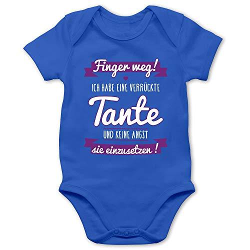 Shirtracer Sprüche Baby - Ich Habe eine verrückte Tante Lila - 3/6 Monate - Royalblau - Baby Erstausstattung Junge - BZ10 - Baby Body Kurzarm für Jungen und Mädchen