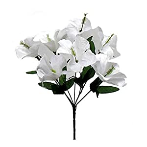LINESS for 5X Hibiscus Artificial Silk Flowers Centerpiece Fake Faux Bouquet Party Tropical DIY LINESS for Wedding Flowers, Petals & Garlands Floral Décor – Color is White