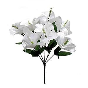 Floral Décor Supplies for 5X Hibiscus Artificial Silk Flowers Centerpiece Fake Faux Bouquet Party Tropical for DIY Flower Arrangement Decorations – Color is White
