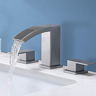 Friho Modern Widespread 3 Hole Waterfall Brushed Nickel Bathroom Faucet, Extra Large Rectangular Spout Bathroom Vanity Sink Faucet