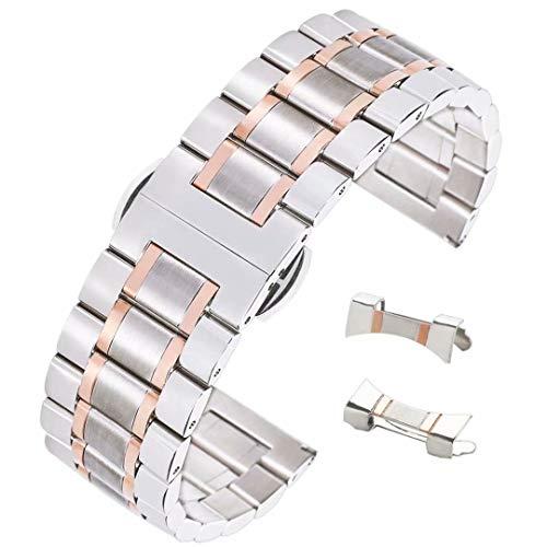 20 millimetri elegante cinturino in acciaio inox spazzolato cinturino dell'orologio dritto estremità ricurva due d'argento di tono e oro rosa