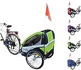 Papilioshop Eagle Remorque poussette de vélo pour le transport de 1ou 2enfants, pliable, vert