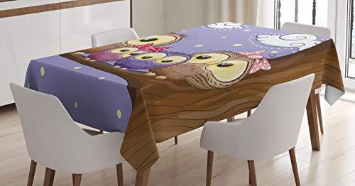 ABAKUHAUS Pájaro Mantele, Estilo de la Familia del búho de Dibujos Animados, Resistente al Agua Lavable Colores No Destiñen Personalizado, 140 x 200 cm, Lavanda y Brown