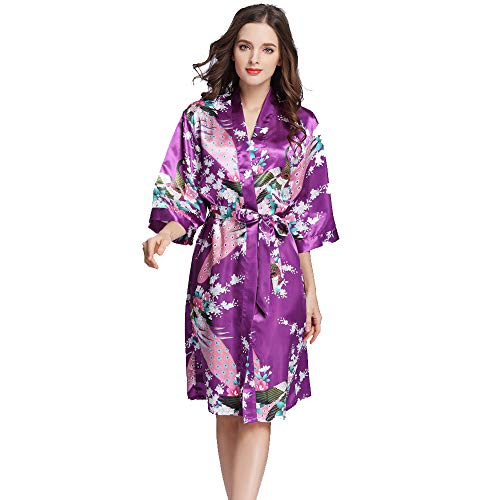 Vrouwen Bloemen Satijn Robe, Pauw En Bloem Bridal badjas Bruid Bruidsmeisje Kimono nachtkleding,4,M
