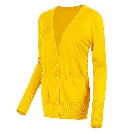 Urban GoCo Femmes Casual Cardigan en Tricot Pull à Manches Longues Classique Blouson Gilet avec Boutons (XL, Jaune Citron)