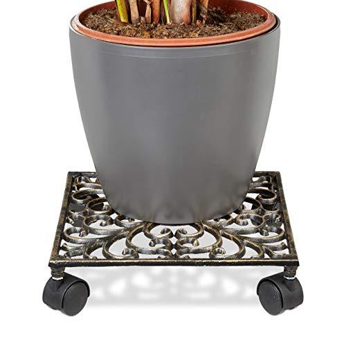 Relaxdays Pflanzenroller Gusseisen quadratisch ca. 27,5 x 27,5 cm Blumentopfuntersetzer Metall mit 4 Rollen Blumenroller im antiken Design Rolluntersetzer im Jugendstil stabil und wetterfest, bronze