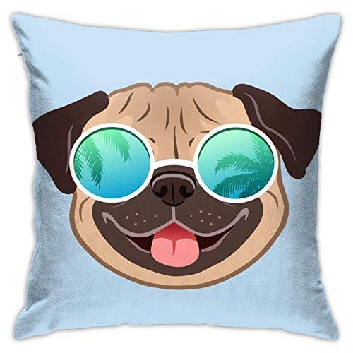 Funda de Cojine Throw Pillow Case, Pug Dog Mirror Gafas de sol Funda de almohada, Cojín decorativo de la funda de almohada Cojines 45X45CM