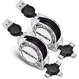 ASICEN - Cable retráctil múltiple de Carga rápida 3A, Cable de Carga múltiple de 1 m 3 en 1 USB con Conector de teléfono/Tipo C/Micro USB para teléfono/Galaxy S9/S8/S7/Hawei y más Negro