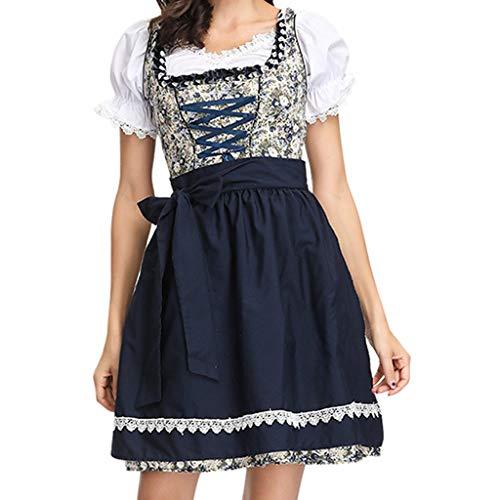 Dirndl Damen 3 TLG Trachtenkleid Kleid Midikleid für Oktoberfest Übergröße,Oktoberfest Kostüm für Damen Bayerisches Biermädchen Drindl Tavern Maid Kleid Bier Festival Kleid mit Schürze