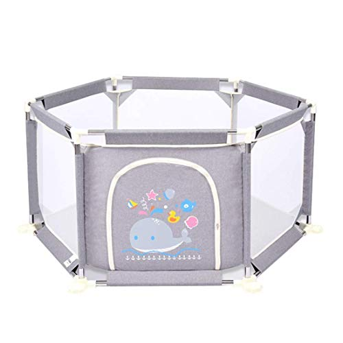 FWZJ Laufgitter für Kleinkinder, Grey Nursery Furniture Playpen und Ball Pit Set für Babys |Sicherheitsbarriere für Kleinkindspielstifte |73 cm sichere Höhe | 132 cm Durchmesser