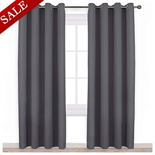 NICETOWN Blackout Curtains Panels for Bedroom - Three Pass Microfiber Noise Reducing Thermal Insulated Solid Ring Top Blackout Window Drapes (Two Panels, 52 x 84 Inch, Gray)