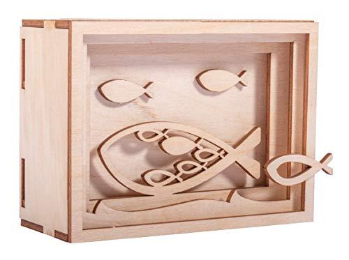 Rayher 62925505 DIY Geldgeschenk Verpackung Fisch für Kommunion, Konfirmation und Taufe, 3D Geschenkbox aus Holz zum Gestalten, 13-teilig, 11,5x8,5x5 cm