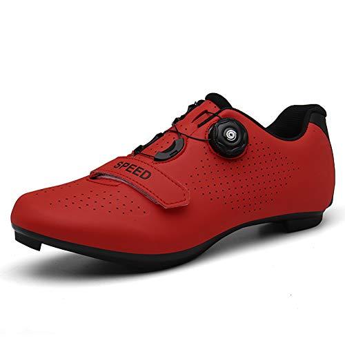 Hommes Femmes Chaussures De Vélo De Route Respirant Antidérapant Serrure Vélo De Montagne Équitation Vélo Chaussures Rouge 47 EU