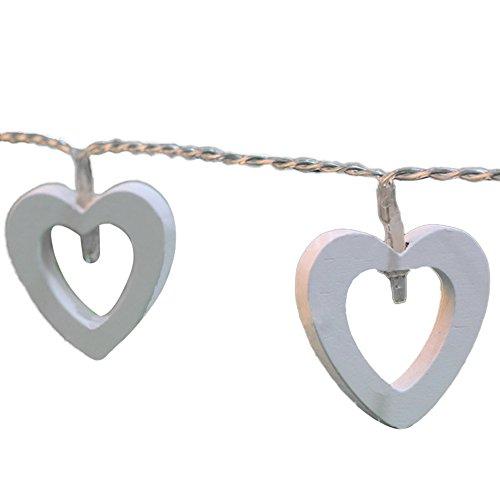 qiao Nai (TM) 10 LEDs Guirnalda corazón madera lámpara bombilla luces Décor Navidad boda San Valentín blanco cálido