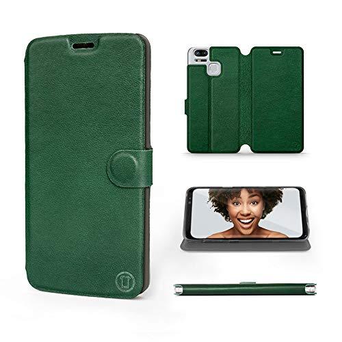 Mobiwear | Echt Lederhülle | Kompatibel mit Asus Zenfone Zoom S ZE553KL, Made in EU handyhülle, Slim Leather Hülle, Premium Flip Schutzhülle, Transparent TPU Silicon, Book Style, Tasche - Grünes Leder