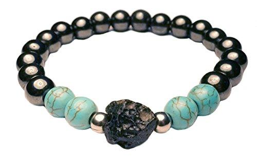 EDELSTEIN Armband – Hämatit mit Türkis und Meteorit/Tektit Stein - Yoga Esoterik Spiritualität Astrologie Meditation Energie
