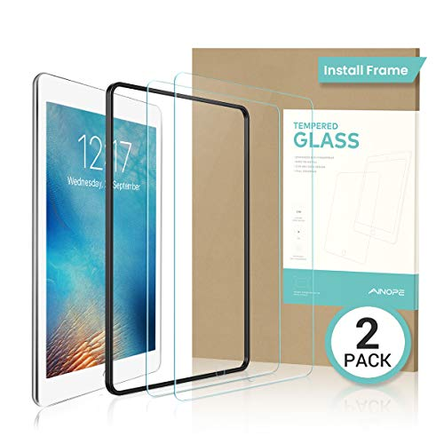 【2 PACK Gift INSTALL FRAME】 iPad 9.7' 6th Generation Screen Protector, Tempered Glass Screen Protector for iPad Pro 9.7/ iPad Air 2 / iPad Air -Apple Pencil Compatible HD/Anti-scratch