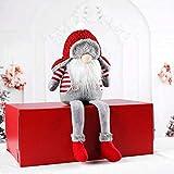 FayTun Navidad Muñeca Gnomo, 1 Pieza Papá Noel de Peluche Sin Cara Muñeca Juguete con Gorro Redondo, Santa Claus Pierna Larga Adornos de Muñecas para la Decoración Navideña, 36 * 16 cm