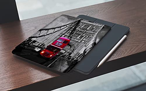 MEMETARO Funda para iPad 10.2 Pulgadas,2019/2020 Modelo, 7ª / 8ª generación,Autobús Rojo de Dos Pisos en el Puente Smart Leather Stand Cover with Auto Wake/Sleep