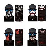 MJ Brand - 4 pañuelos para la cabeza, pasamontañas, sin costuras, elásticos, para cuello, multifuncional, 3D, resistente al polvo, UV, para camping, correr, etc.