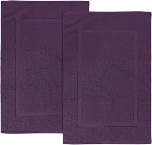 Utopia Towels - 2 Alfombrillas de baño, Alfombra baño - 100% algodón Lavable en la Lavadora (53 x 86 cm, Ciruela) - Altamente Absorbente