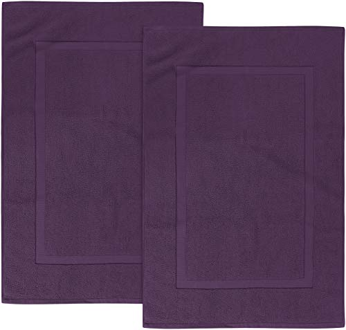 Utopia Towels Cotton Banded Bath Mats, Plum, [Not a Bathroom Rug], 21 x 34 Inches, 100% Ring Spun Cotton - Highly Absorbent and Machine Washable Shower Bathroom Floor Towel (Pack of 2)
