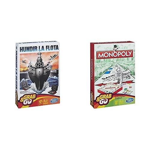 Hasbro Gaming Hundir La Flota Viaje Gaming Travel Juego De Estrategia, Multicolor (B0995175) + Monopoly Juego De Viaje, Versión Española (B1002105)