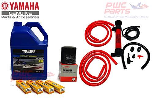 YAMAHA SVHO 1.8L WaveRunner Oil Change Kit Gallon 4W w/Filter FX-SVHO FZR-SVHO FZS-SVHO GP1800 GP1800R 69J-13440-03-00 NGK Spark Plugs & Deluxe Oil Extractor Fluid Removal Pump Maintenance Kit