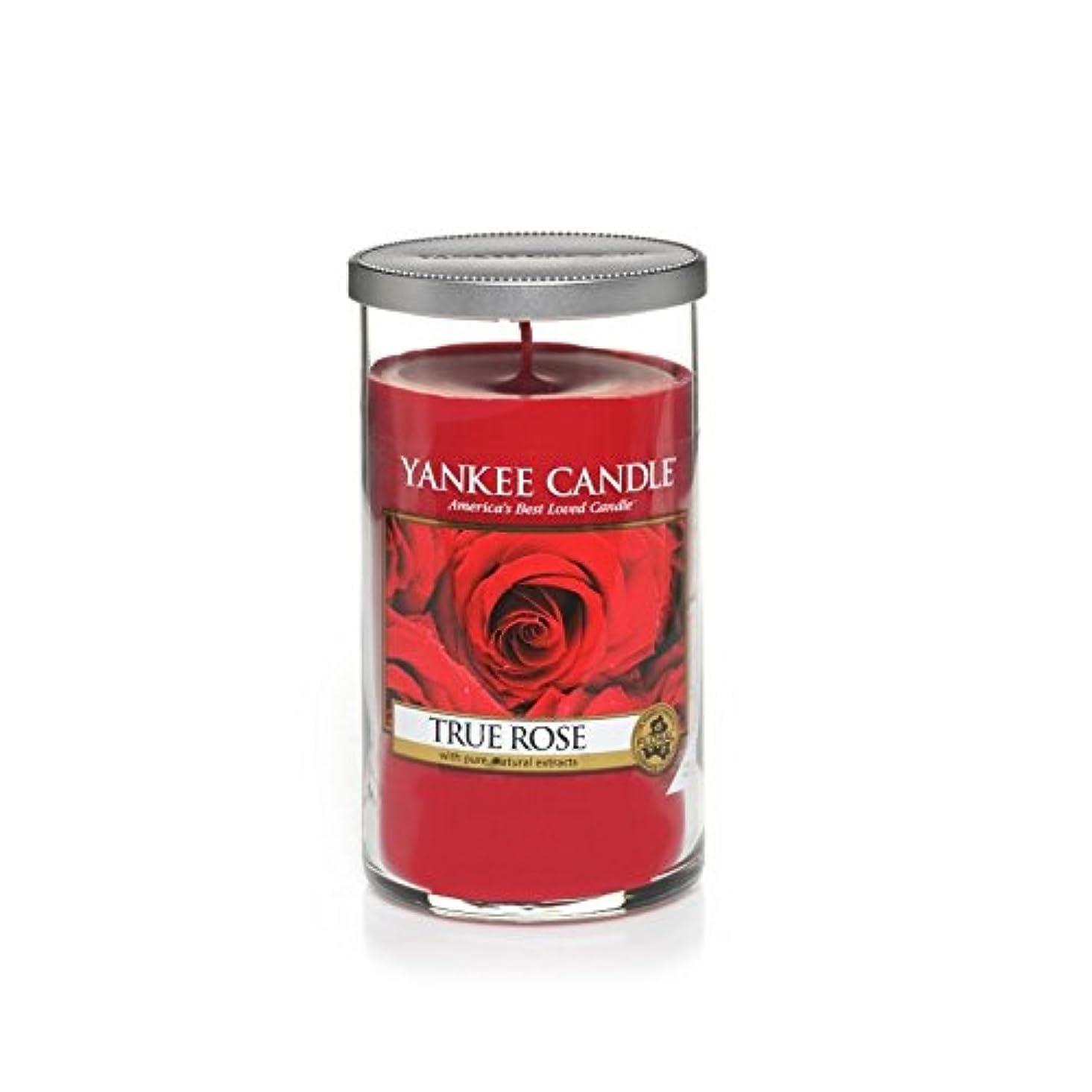 葉を集める材料減少Yankee Candles Medium Pillar Candle - True Rose (Pack of 2) - ヤンキーキャンドルメディアピラーキャンドル - 真のバラ (x2) [並行輸入品]