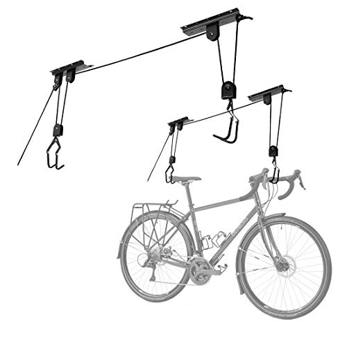 Cartman Garage Utility Ceiling-Mounted Bike Lift, Mountain Bicycle Hoist, Pack of 2