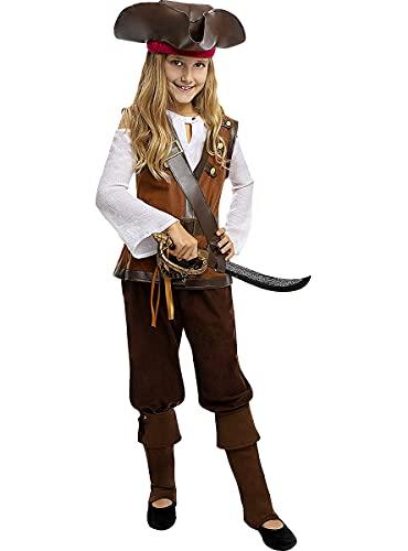 Funidelia | Disfraz de Pirata - Coleccin Caribe para nia Talla 10-12 aos Corsario, Bucanero - Color: Marrn - Divertidos Disfraces y complementos