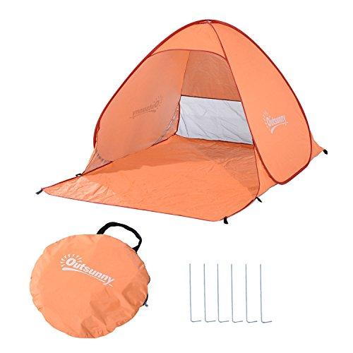 Outsunny Tienda de Campaña Pop-Up Instantánea y Portátil con Ventanas Tipo Refugio para Playa Picnic y Camping con Protección Solar UV (Naranja)