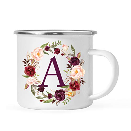 Andaz Press Stainless Steel 11oz. Campfire Coffee Mug Gift, Fall Autumn Burgundy Marsala Floral Wreath Monogram Initial Letter A, 1-Pack, Christmas Birthday Camping Camp Cup, Includes Gift Box