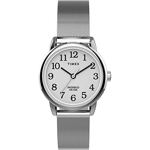 Timex Easy Reader - Reloj de pulsera para mujer (25 mm), Malla plateada.