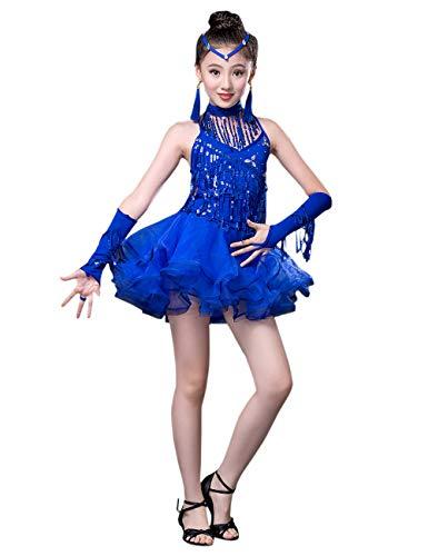 besbomig Moda Lentejuelas Borla Salsa Tango Latina Danza Vestido Niños Dancewear - Chicas Ballroom Concurso De Danza Vestido de Fiesta