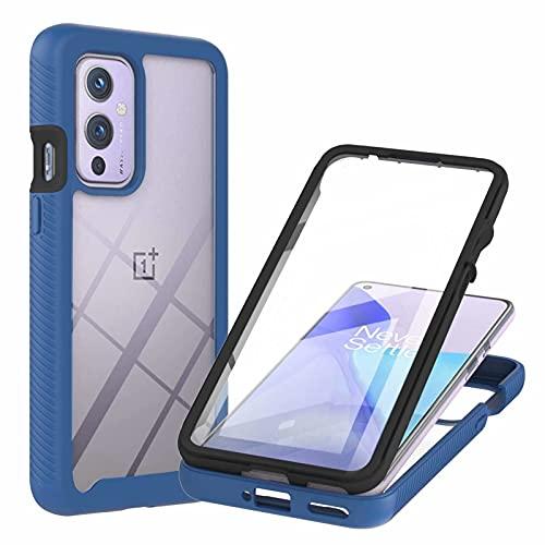 TTNAO Kompatibel mit OnePlus 9 Hülle,Durchsichtig Stoßfeste Schlank Handyhülle 360 Rundumschutz Prämie PET Vordere Gehärtete Membran Case Kratzfest Cover,Blau