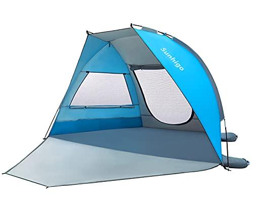 Sunhigo Beach Tent Sun Shelter 3-4 Person UPF 50+ Beach Sun Shade Tent Portable Double-Door Beach...