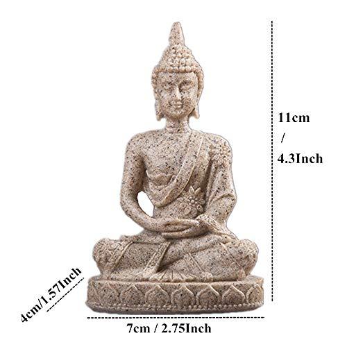 ZLYYH beeld, beeldjes, beeldjes, sculptuuren, figuur, India, Boeddha beeldje Fengshui zittende Boeddha natuur zandsteen sculptuur figuurtjes, vintage aquarium Home Studio decoratie knutselen sieraden accessoires Zand Boeddha 134