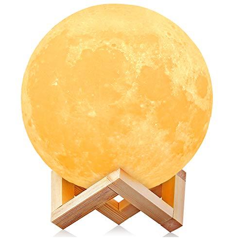 3D Luna lámpara LED, AGM USB Luna lámpara LED luna luz 2 colores regulable LED luz nocturna toque el control, LED luna 3D impresa lámpara luna