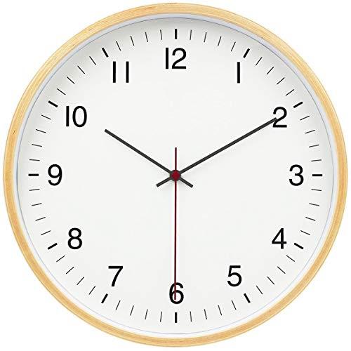 ZQQBRZXFT Cuarzo de Pared Silencioso Reloj De Pared De Maderaestilo Moderno,Redondo,Reloj Que Sin Tic-TAC, Funciona para Hogar, Sala De Estar, El Aula,12 Pulgadas,30.5 Cm