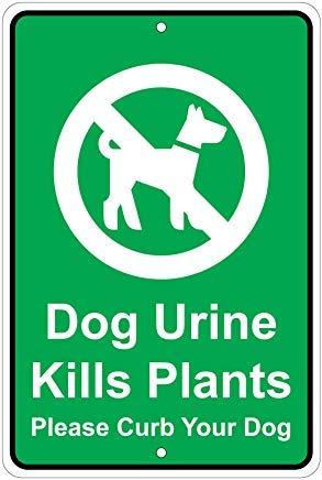 Kysd43Mill Dog Urine Kills Plants Notice de mise en garde humoristique pour la maison, panneau d'affichage de danger en métal, panneau de propriété privée, panneau de portail de jardin, 20,3 x 30,5 cm