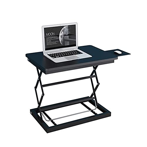 Mesa de escritorio de pie para computadora portátil que se puede levantar y bajar Mesa de escritura de pie con bandeja de ratón para el hogar y la oficina (color negro)