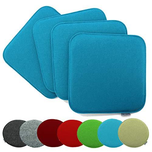 heimtexland ® 4er Pack Sitzkissen Filz 35x35 cm Aqua Blau Filzkissen Stuhlkissen Polster Auflage Kissen Typ631