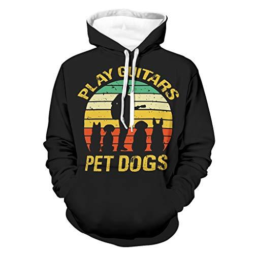 Shinelly Sudadera con capucha para hombre, diseño vintage de guitarra y perro, con bolsillos blanco XXXL